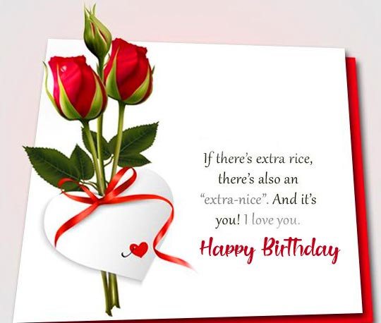 Roses with Happy Birthday Message