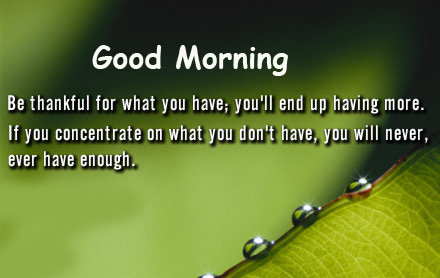 Sweet Good Morning Leaf Message Pic