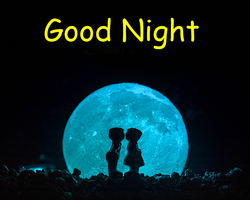 Sweet and Cute Couple in Moonlight with Good Night Wish