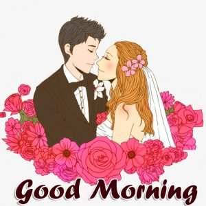 Animated Love Kissing Couple Good Morning Image