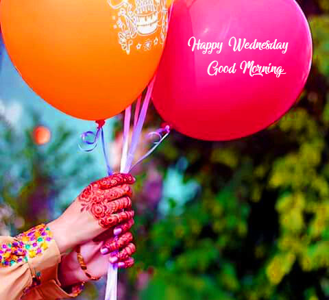 Balloons with Happy Wednesday Good Morning Wish