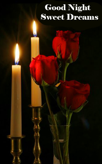 Beautiful Candles and Roses Good Night Sweet Dreams Image