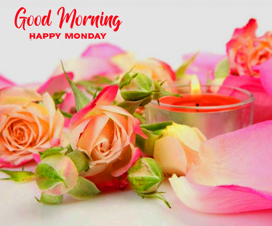 Beautiful Flowers and Candle Good Morning Happy Monday Image