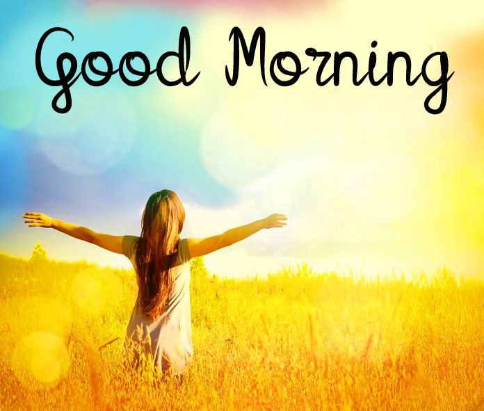 Cheerful Girl Sunrise Good Morning Picture