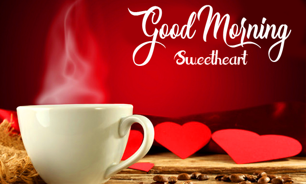 Coffee with Hearts and Good Morning Sweetheart Wish