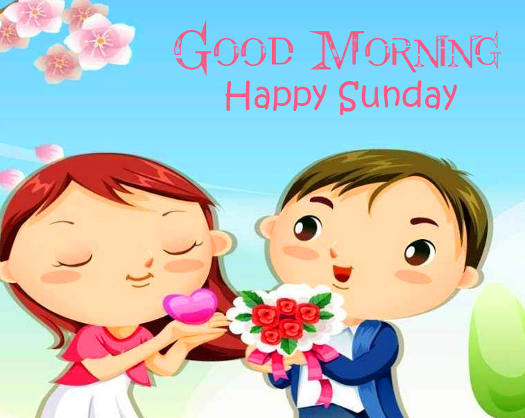 Cute Cartoon Couple Good Morning Happy Sunday Picture