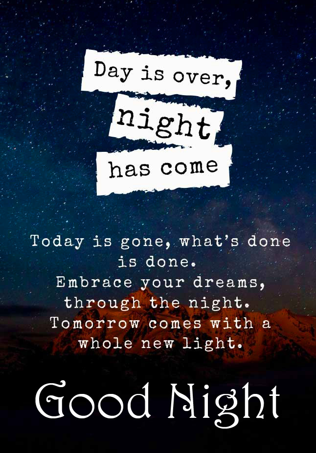 Day is ver Night Has Come Quote with Good Night Wish