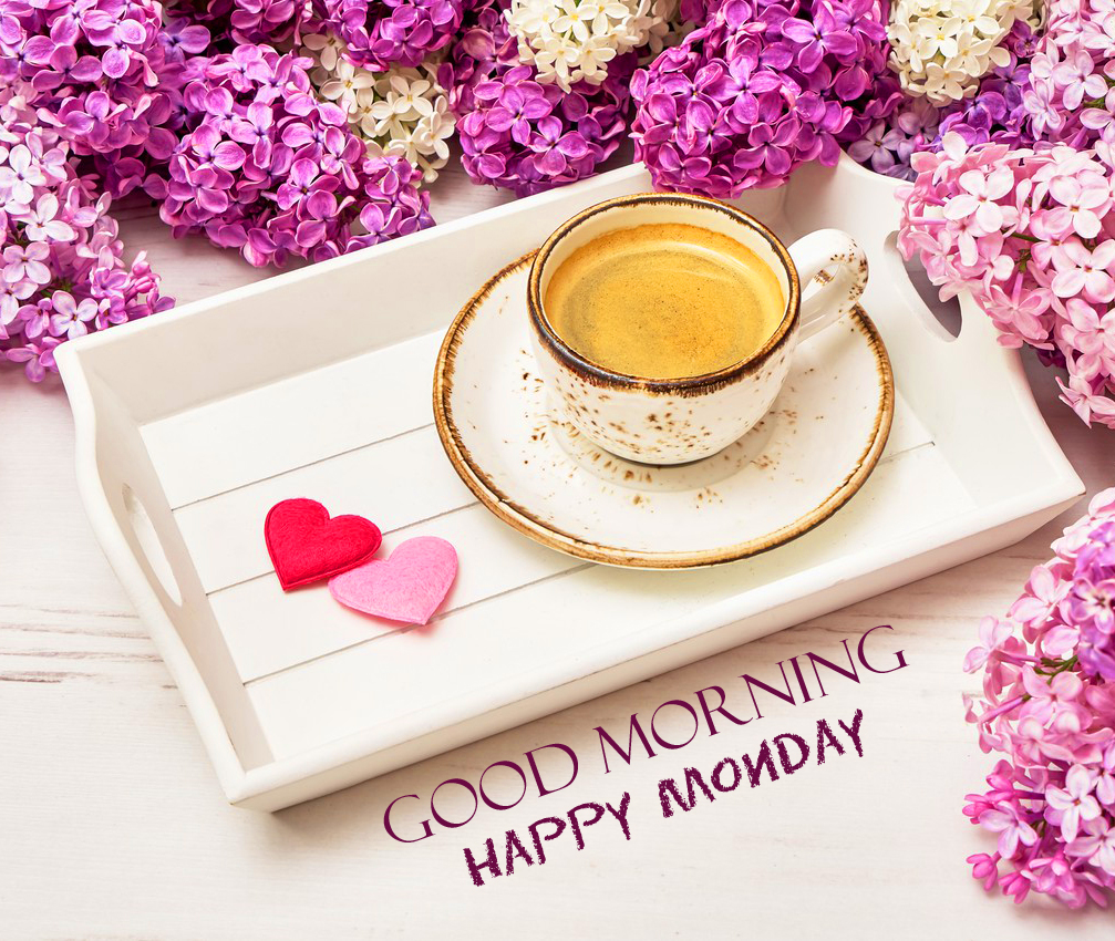 Flowers and Coffee Cup Good Morning Happy Monday Image