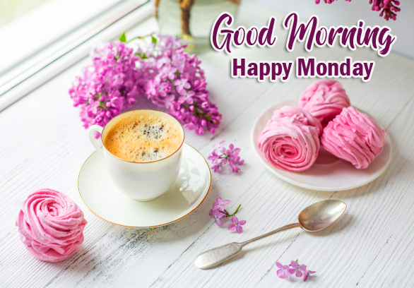 Flowers and Coffee Good Morning Happy Monday Image