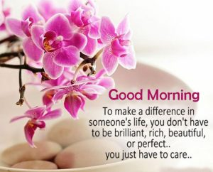 Flowers with Beautiful Quote and Good Morning Wish
