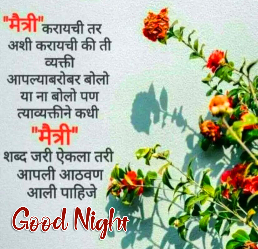 Flowers with Marathi Quote and Good Night Wish
