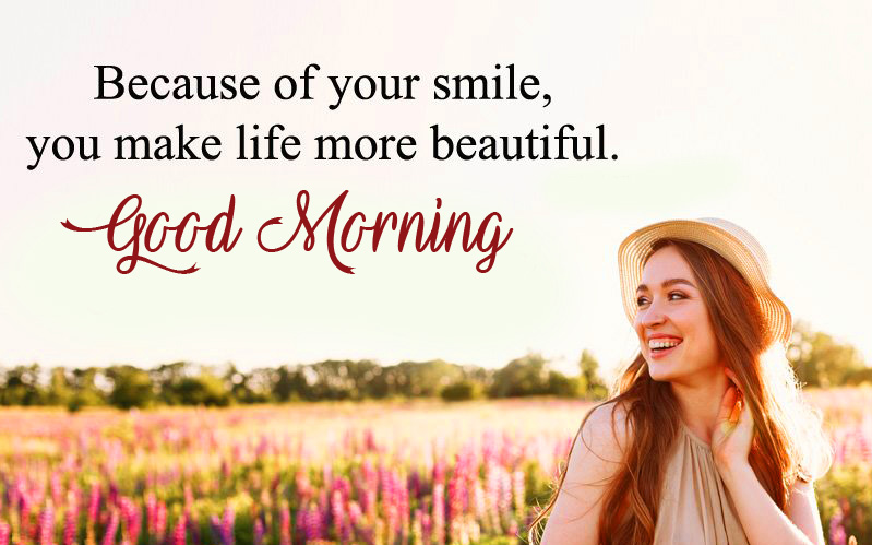 Good Morning Smiling Quote HD Picture