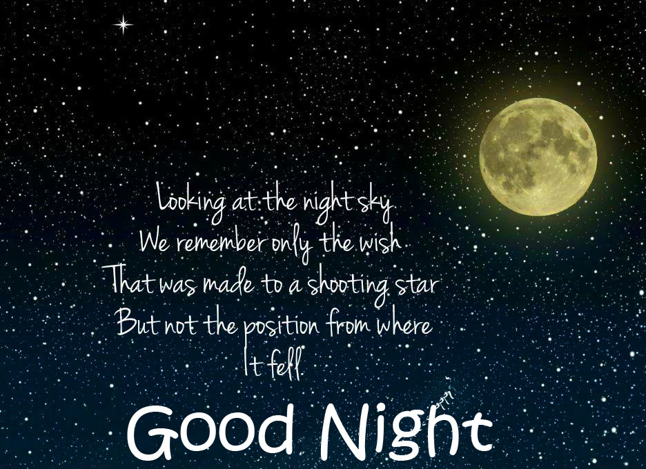 Good Night with Night Sky Quote Pic