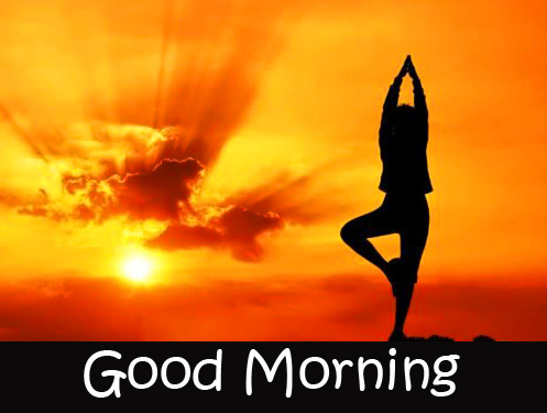 HD Yoga Sunrise Good Morning Wallpaper
