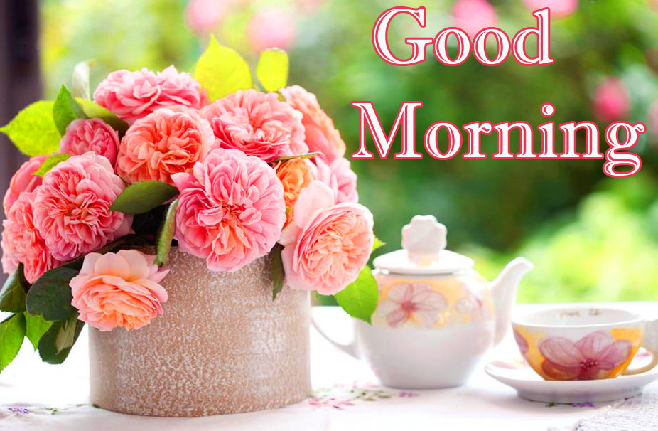Pink RoseFlowers Table Cup Good Morning Image