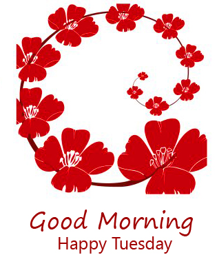 Red Floral Good Morning Happy Tuesday Wallpaper