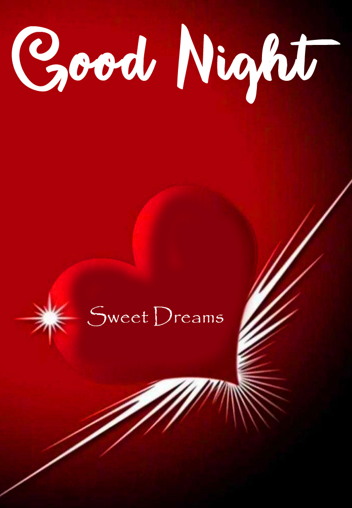 Red Heart Flying Good Night Sweet Dream Image