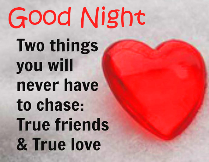 Red Heart with True Love Quote and Good Night Wish