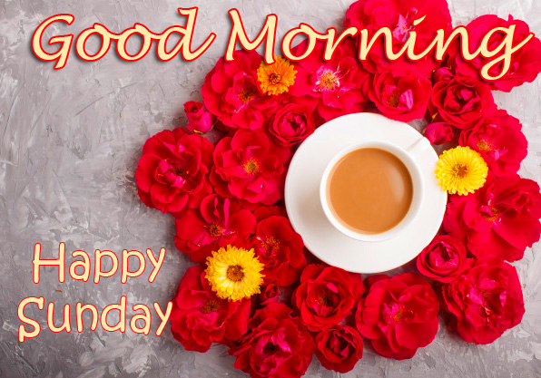 Red Roses Flowers and Coffee Good Morning Happy Sunday Image