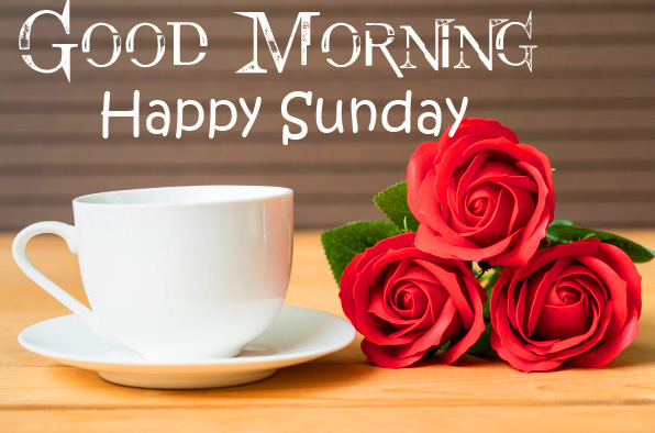 Red Roses and Coffee with Good Morning Happy Sunday Wish