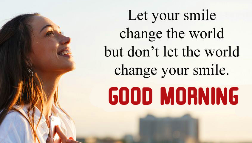 Smiling Quote Good Morning Wallpaper