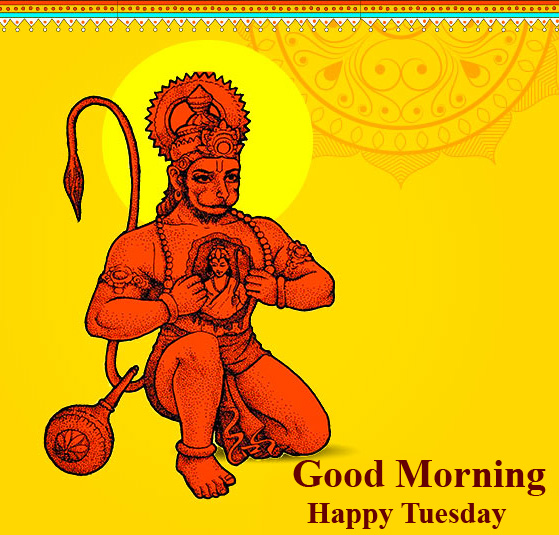 Good Morning Happy Tuesday Animated Hanuman Ji Picture