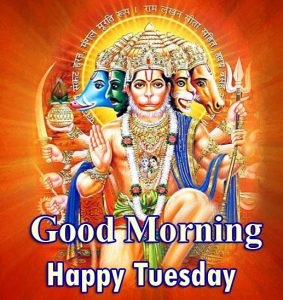 Good Morning Happy Tuesday Wish with Panchmukhi Hanuman Ji