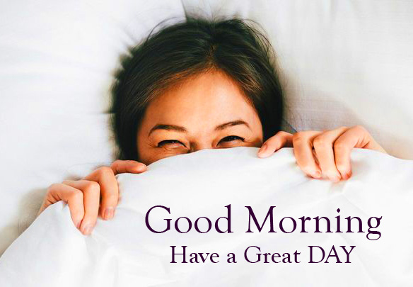 Good Morning Have a Great Day Sleeping Girl Image