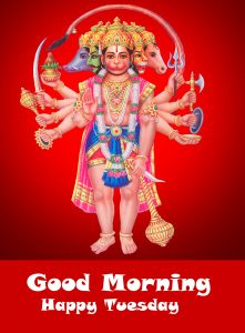 Panchmukhi Hanuman Good Morning Happy Tuesday Image