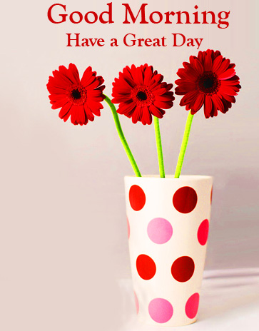 Red Flowers Good Morning Have a Great Day Wallpaper