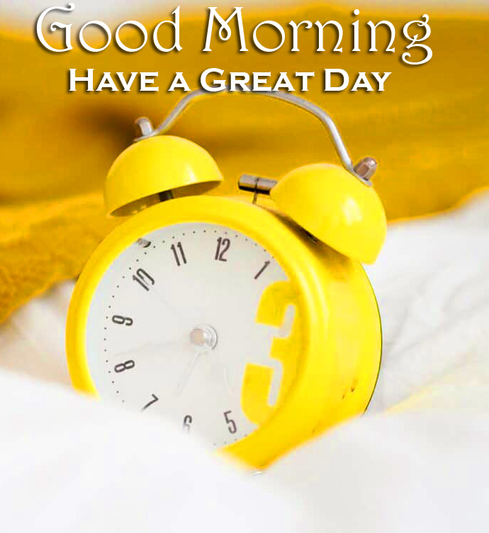 Yellow Alarm Clock Good Morning Have a Great Day Image
